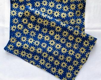 block printed linen table runner. gold blue starburst. entertaining. hostess gift. tablecloth. christmas party. holiday decor. mod boho.