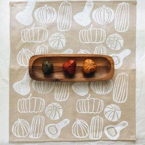 linen napkin set. white pumpkins. hand block printed / placemats / tea towel. boho decor. organic. halloween. thanksgiving. autumn. fall.