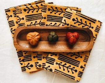 linen napkin set. foraged twigs. hand block printed / placemats / tea towel. boho decor. organic. botanic. hostess gift. mustard yellow.