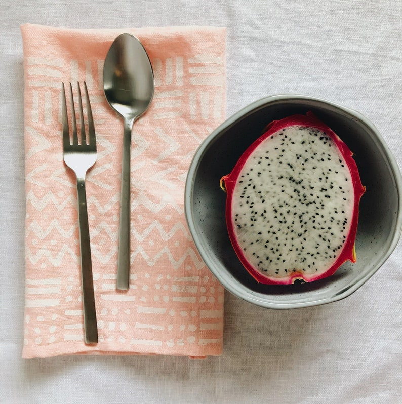white mudcloth inspired on pink boho decor block printed linen napkin set placemats  tea towels thanksgiving. mud cloth hostess gift