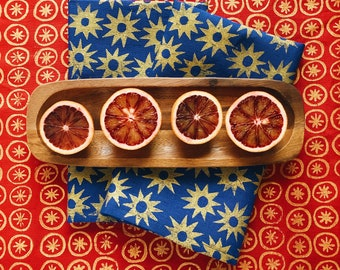 linen napkin set. gold starburst. hand printed block printed / placemats / tea towel. boho. christmas party. holiday decor. stars.