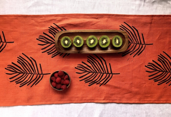 organic table linen wall decoration wall hanging Hand printed table runner green and copper organic pattern