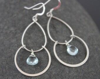 Aquamarine Double Chandelier Earrings,silver chandelier earrings,march birthstone earrings,silver light earrings,gift for her,gift under 50