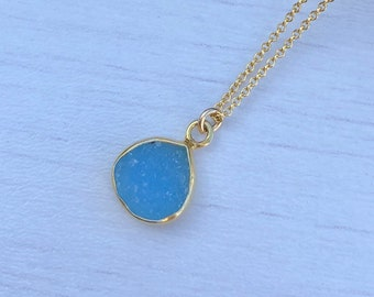 Blue Druzy Necklace, Blue drusy, summer necklace, every day necklace, gift for mom, gift under 40, dainty necklace, crystal necklace