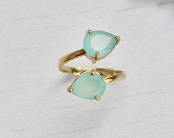 chalcedony adjustable ring, gold filled ring, 2 stone ring, adjustable gemstone ring, gift for her, gift under 80,teardrop ring,index ring