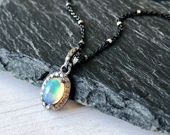 Opal Necklace, October Birthstone, Tiny Ethiopian Opal Oval Pendant and Diamond Pave, Delicate Opal Jewelry in Oxidized Silver, Gift got her