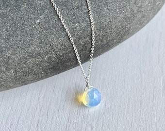 Opal Necklace, October Birthstone, Opal Teardrop Pendant, Layering Necklace in Gold or Silver, Minimalist Opal Jewelry, Gift for October