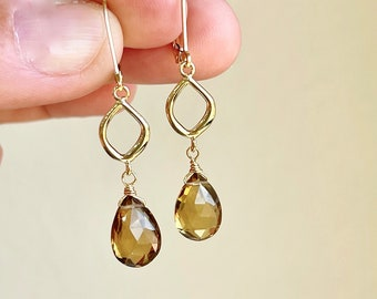 Amber Citrine Earrings, November Birthstone, Amber Dangle Earrings in Gold or Silver, Elongated Simple Teardrop Earrings, Gift for women