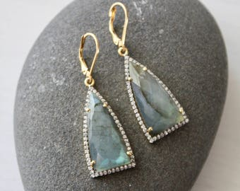 Labradorite Triangle Earrings,Pave Labradorite earrings,trillion earrings,gold labradorite earrings,gift for her,gift under 150,gold pave