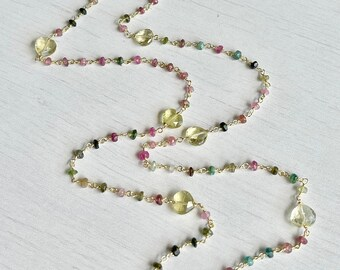 Watermelon Tourmaline Long Beaded Necklace, October Birthstone, Multicolor Layering Necklace Gold or Silver, Lemon Topaz Wire Wrapped Chain