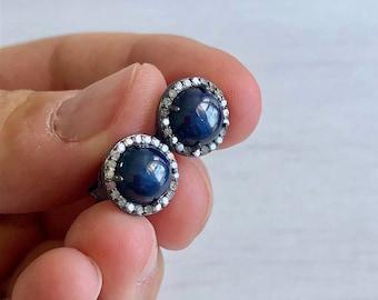 Star Sapphire Stud Earrings, Diamond Stud Earrings, Round Sapphire Post, September Birthstone, Blue Sapphire, Diamond Halo, Gift for Wife