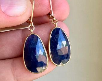 Sapphire Earrings, September Birthstone, Navy Blue Oval Earrings in Gold or Silver, Dark Blue Dangle Drops, Sapphire Jewelry Gift for Women