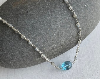Labradorite and Blue Topaz Necklace,  Blue Topaz Oval Pendant, Beaded Chain in Gold or Silver, December Birthstone, Elegant Gift for her