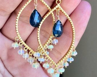Opal and Kyanite Earrings, October Birthstone, Boho Ethiopian Opal Big Chandelier Earrings, Teal Kyanite Opal Statement Drops, Gift for her