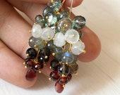 Garnet Topaz Moonstone Cluster Drop Earrings, multi color earrings, red white green earrings, gemstone drop earrings, dainty, delicate, gift