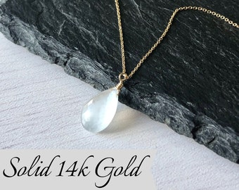 """gold heart necklace rare moonstone gemstone briolette 14k yellow gold 16/"""" puffy"""