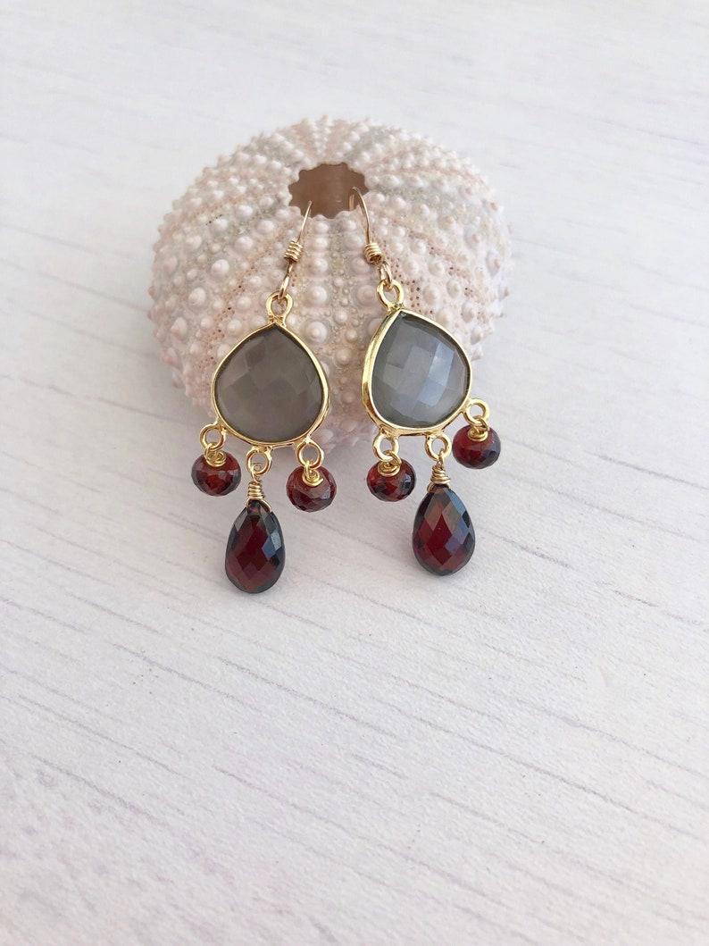 Gray Moonstone Earrings Gray Moonstone and Garnet Chandelier image 0