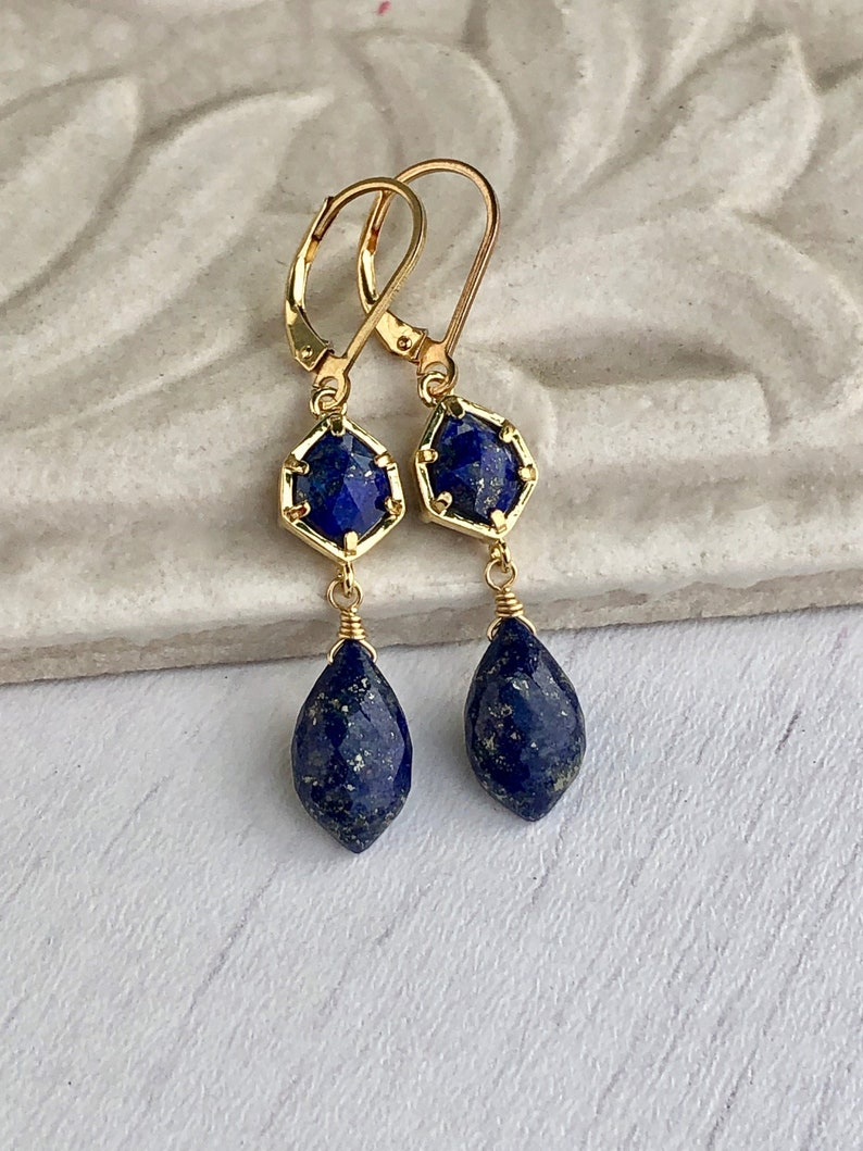 Lapis Lazuli Earrings Navy Blue Dangle Earrings September image 0
