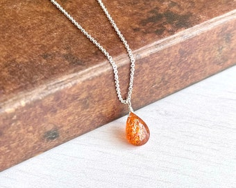 Sunstone Necklace, Smooth Orange Sunstone Teardrop Pendant, Sparkly Drop Birthstone, Layering Minimal Necklace, Minimalist Jewelry gift