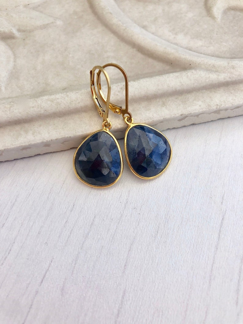 Sapphire Earrings September Birthstone Blue Earrings image 0