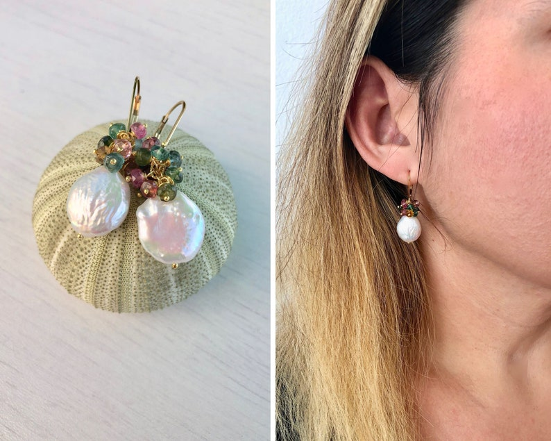 White Pearl and Tourmaline Earrings Coin Pearl and Multicolor image 0