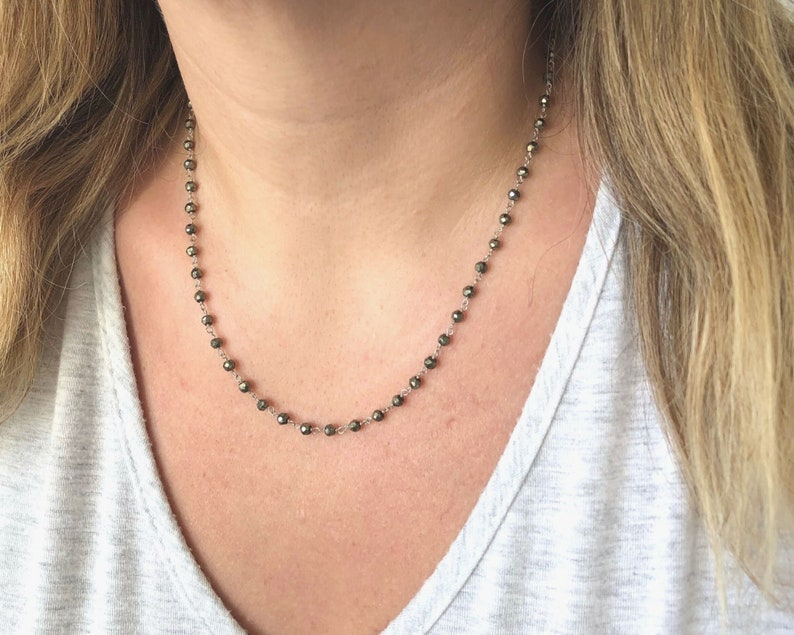 Pyrite Necklace Short Silver Beaded Necklace wire wrapped chain Minimalist Necklace Pyrite Beaded Necklace Rosary style Boho Necklace