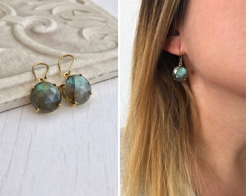 Green Labradorite Earrings Statement Earrings Gold Round image 0