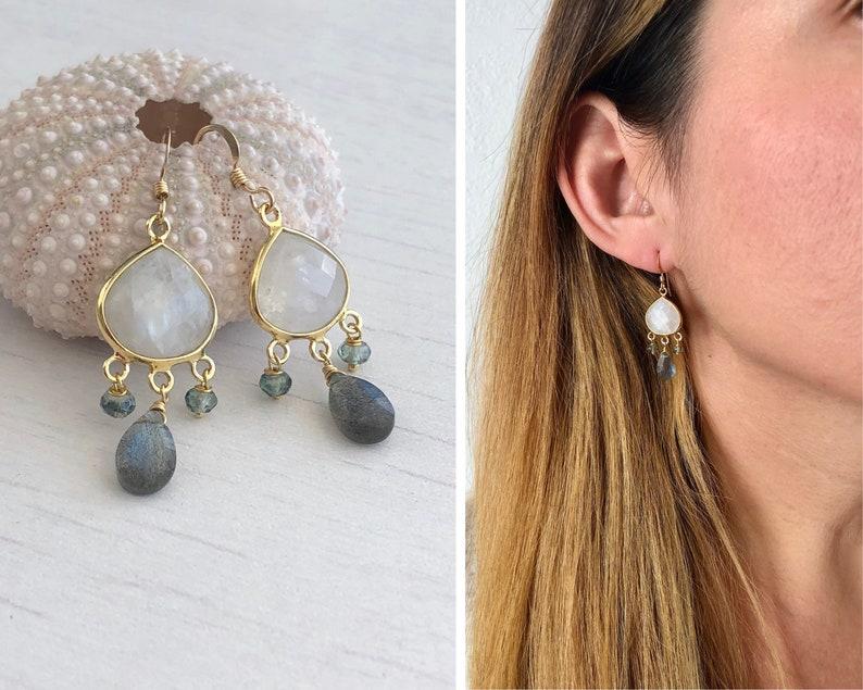 Rainbow Moonstone Earrings White Moonstone and Labradorite image 0