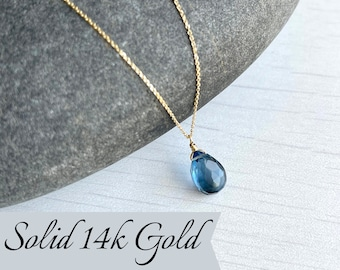 Sapphire Necklace, September Birthstone, Navy Blue Teardrop Pendant, Solid 14k Gold, Real Gold Minimalist Layering Jewelry, Gift for her