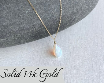Opal Necklace, October Birthstone, Ethiopian Fire Opal Teardrop Pendant, Solid 14k Gold, Real Gold Jewelry, Minimalist Layering Gift for her