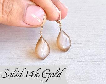 Orange Moonstone Earrings, Solid 14k Gold, Silk Moonstone Teardrop Earrings, June Birthstone, Champagne Gemstone Earrings, Gift for Wife