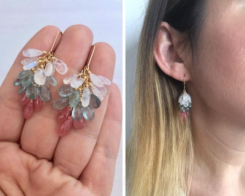 Rhodochrosite Aquamarine and Moonstone Earrings Statement image 0