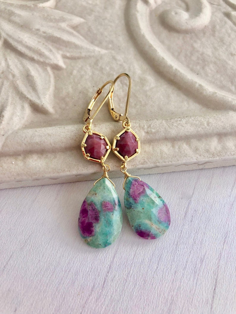 Ruby Zoisite Earrings Pink and Green Dangling Earrings image 0