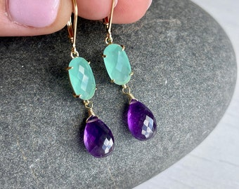 Aqua Chalcedony and Amethyst Earrings, Aqua and Purple Statement Earrings, Elongated Drop Earrings Gold or Silver Colorful Jewelry for women