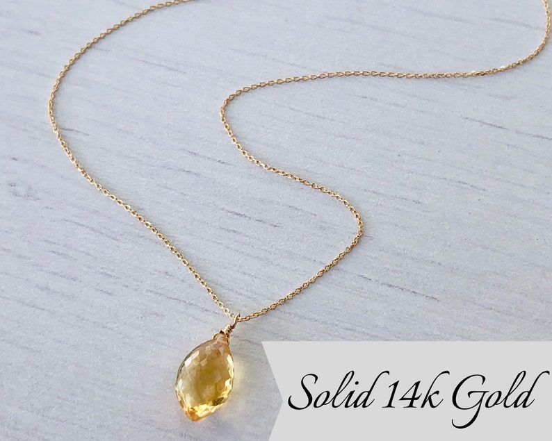 Yellow Topaz Necklace Topaz Pendant Solid 14K Gold Teardrop image 0