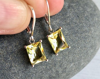 Citrine Earrings, Yellow Citrine Emerald Cut Dangle Drops in Gold or Silver, November Birthstone, Summer Yellow Jewelry, Gift for women