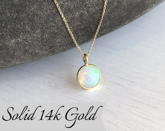 Opal Necklace, October Birthstone, Tiny Ethiopian Opal Pendant in Solid 14k Gold, Real Gold Minimalist Necklace, Birthday Gift for October