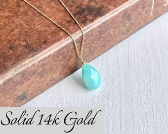 Amazonite Necklace, Teal Amazonite Teardrop Pendant, Solid 14k Gold, Real Gold Jewelry, Minimal Layering, Aqua blue jewelry, Gift for her
