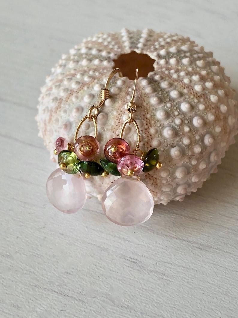 Tourmaline and Rose Quartz Earrings Gold Dangle Earrings image 0