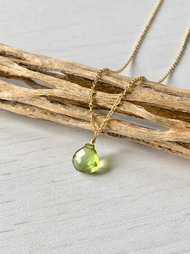 Peridot Necklace August Birthstone Lime Green Necklace Tiny image 0