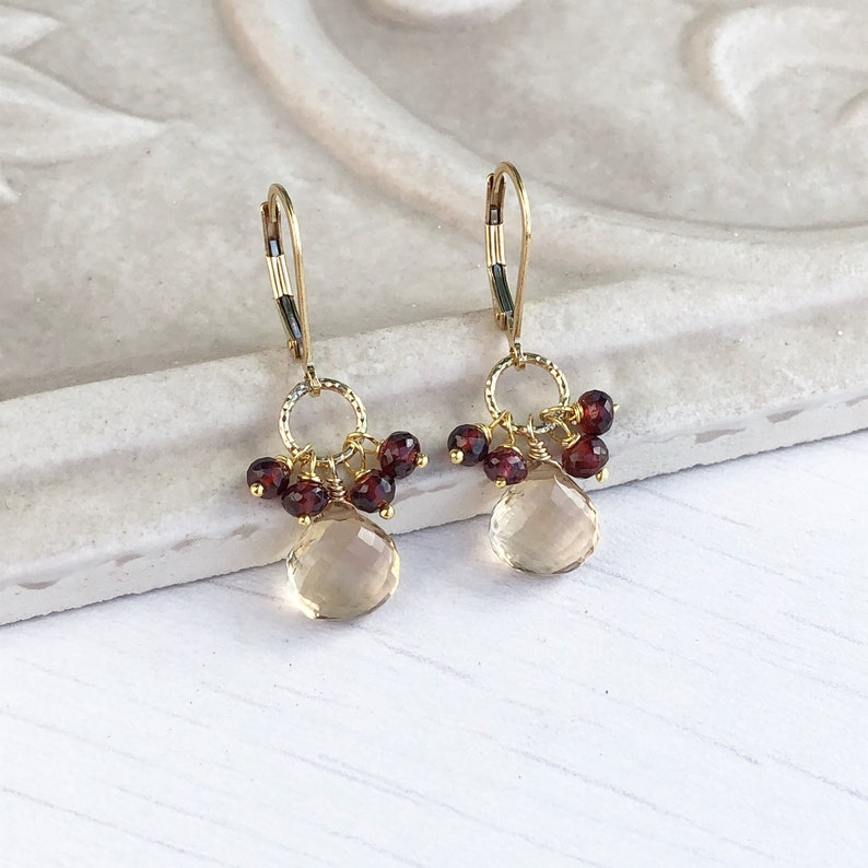Yellow Topaz and Garnet Earrings November Birthstone Small image 0