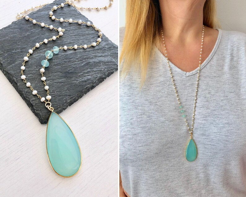 Aqua Chalcedony Teardrop Necklace Chalcedony Pendant with image 0