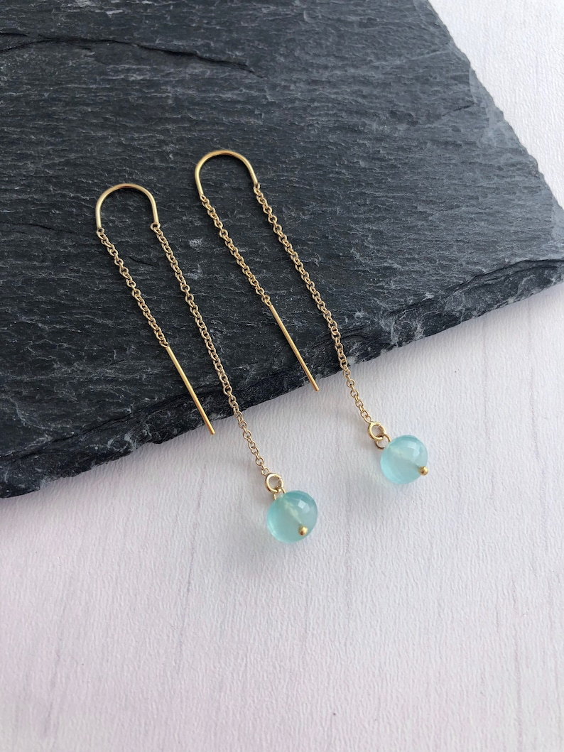 Aqua Chalcedony Threader Earrings Minimalist Jewelry Blue image 0