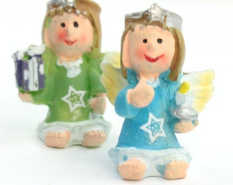 Colorful Little Angels - Too Cute! - Set of 4 miniature angels christmas decoration diorama craft project angel set- 205-6478