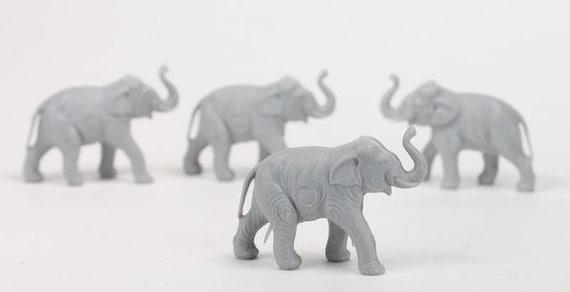 Medium Set of 8 201-149-4 Dollhouse Minis Elephants