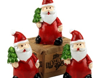 Santas - Holding Tree - Set of 3 miniature santas christmas decor santa diorama santa figurine set of santas - 204-2385