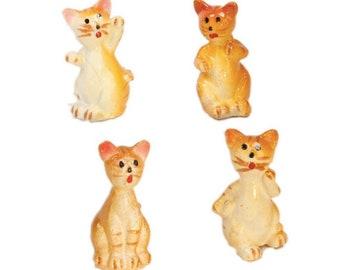 "Cats - 1"" Tall - Playful Porcelain Cats/Miniature Animals/Ceramic cats/Miniature Ornaments - Set of Four! - 800-2611"