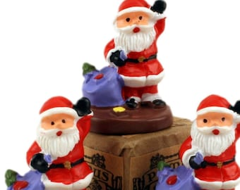 Santas - with holiday Sack - Set of 3 miniature santas christmas decor santa diorama santa figurine set of santas - 204-8802