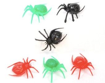 Halloween Colored Spiders (6pcs) EEK!- 3 Color Mix - 203-3-003 - Halloween Party/Hollween Decor/Miniature Creatures/Halloween Bunting