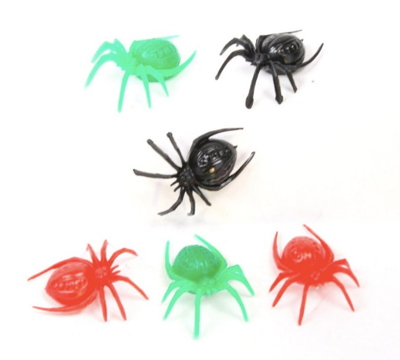Halloween Colored Spiders 6pcs EEK 3 Color Mix  203-3-003 image 0